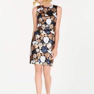NWT Calvin Klein Floral Sequin Sheath Dress